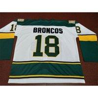 Nadir erkekler humboldt broncos # 18 beyaz hokey forması veya özel herhangi bir isim veya numara retro jersey