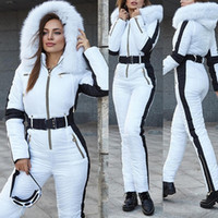 Jumpsuit Women White with Black Insert Ski Winter Suits Comf...
