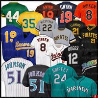 51 Randy Johnson 12 Wade Boggs Nolan Ryan Robin Yount 21 Roberto Clemente Tony Gwynn 8 Cal Ripken Jr. 컬렉션 농구 유니폼 Z1