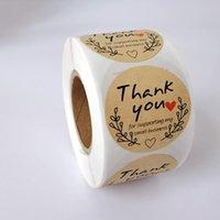 Round Kraft Paper Grazie Sticker Sigillante Esecutore di Esecutore da 500 pezzi per rotolo Adesivo Decorazione Varie opzioni