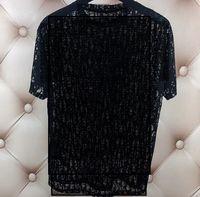 Damen Mens Vogue Designer T-Shirt Sexy Sheer Party Tragen Sie Womans Brief Drucken Aushöhlen Hemden Top Sommer Hip Hop Streetwear Mode Tee Mann