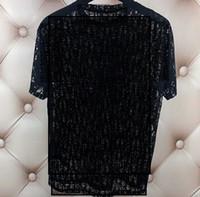 Bayan Erkek T-shirt Out Yaz Giyim Sheer Üst Tasarımcı Kadının Mektubu Baskı Hollow Parti Gömlek Seksi Vogue Streetwear Hop Hip Moda Te Mitq