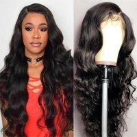 28 30 pollici Body Wave 13x4 parrucche anteriori in pizzo precipitato con capelli per bambini capelli brasiliani capelli umani pieni parrucche frontali in pizzo per le donne nere