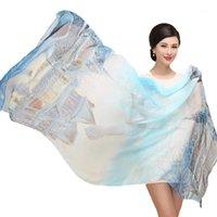 Sciarpe sciarpa 100% gelso naturale seta donne inverno lungo femmina fiore fiore grande scialli e avvolgimenti floreali hijab foulard protezione solare cape1