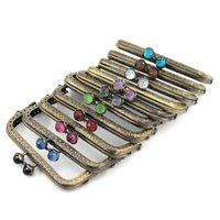 Taschen Teile Zubehör 10.5cm Koralle Perlen Antike Bronze quadratisch Metall Geldbörse Rahmen Griff für Kupplung Handtasche Machen Kiss Clasp Lock