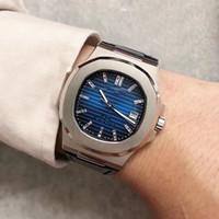 Mouvement automatique de style classique U1 40 ans Souvenirs Hommes Regardez Blue Face Sapphire Cristal En Cuir Watch