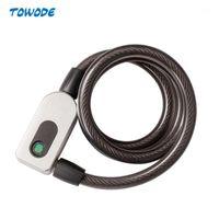 Towode Paslanmaz Çelik Kablo Anti-Hırsızlık Akıllı Bisiklet Bisiklet USB Parmak Izi Kilit Hızlı Kilidini Su Geçirmez Motosiklet MTB Kapı Kilidi1