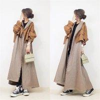 여성 하라주쿠 중간 길이 트렌치 코트 일본 한국 스타일 느슨한 세련된 유행 패션 캐주얼 봄 가을 여성 가짜 두 Overcoat 201029