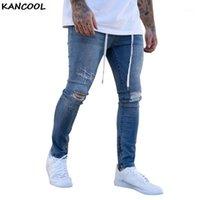 Kancool Men Splitry Ripped Skinny Biker Bordado Impresión Slim Fit Jeans Agujero destruido Agujero grabado Denim Rasguño de alta calidad 20201