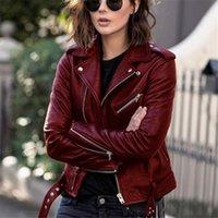 Punk Mujeres Cool Faux Cuero Chaqueta de manga larga con cremallera Abrigo ajustado Caída Corta Solanda Sólido Femenino Moto Biker 2021