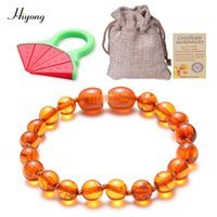 Natural Ambers Teething Bracelets for Baby - Baltic Ambers Round beads Bracelet Fussiness Reduce Teething Anklets 5 Color