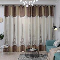 Европейская железная башня льна тканевые шторы для детской спальни детская комната тюль оконные лечения занавес для гостиной1