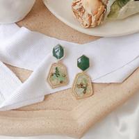 Ansoa корейский натуральный камень акриловые серьги для женщин 2020 уникальная геометрическая оболочка ромба металлические Pendientes1