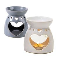 السيراميك الضروري النفط مصباح العطر مصابيح الجوف القلب نمط بسيط شمعة البخور الشعلات الديكور سطح المكتب 3 ألوان