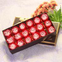 18 adet Kokulu Romantik Gül Çiçek Petal Sabun Düğün Dekorasyon Sevgililer Günü Hediyesi (Bir Hediye Kutusu ile) 182 K2