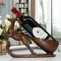 Oussirro الحرف الإبداعية الراتنج الأحمر حامل النبيذ الإطار الحصان الغزلان قرون غرفة الديكور الماشية الخزف الحيوان التماثيل 1