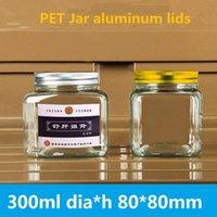 70pcs / lot 80 * 80mm place miel pot PET tisane bonbonnière pot Mason transparent nourriture noix de haute qualité gemme 300ml scellé