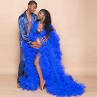 Images réelles Royal Blue Tulle Robe de bal Tulle Royal Femmes Robes de soirée Sheer Veiller à travers Tulle Enceintes Femmes Robe de maternité
