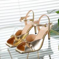 الذهبي الصيف المرأة الصنادل مصمم الأسماك الفم عالية الكعب الجلود المفتوحة تو المعادن الجنية نمط اللباس الرسمي السيدات مكتب الأحذية