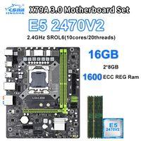 Xeon E5 2470 V2 CPU LGA1356 X79A conjunto 3.0 placa base con 2 × 8 GB = 16 GB de memoria 1600MHz DDR3 ECC REG SATA3.0 USB3.0