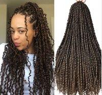 Предварительно скрученная страсть квитает наращивание волос 18 дюймов Омбре коричневые крючкие косы 3D Cubic Trist Синтетические волосы оплетка
