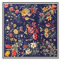 LESIDA reine Seide Schal Frauen Große Tücher Blumen-Entwurf Foulards Echarpes Foulards Femme Wrap Bandanas 130 * 130CM 200930