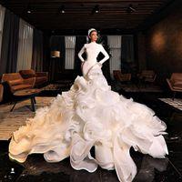 Мусульманские русалки свадебные платья Wave Детали высокой шеи с длинными рукавами.