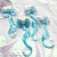 Blaue Schneeflocke Perücke Hairclip Reizende Zopf lockige Haare Bögen für Baby Mädchen Pferdeschwanz Barrettes Prinzessin Nette Haarnadel Kinder Haarspange Zubehör