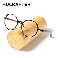 Mode Sonnenbrille Frames HDCRAFTER Runde Holz Tempel Metall Eyewear Rezept Brillen Rahmen Frauen Myopie Optische japanische koreanische Glas