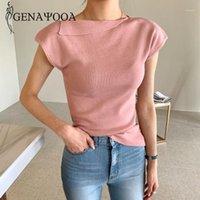 Genayoaa повседневная короткие футболки женщины 2020 летние сплошные винтажные вершины Mujer трикотажные кошу воротника белая футболка дамы корейский стиль1
