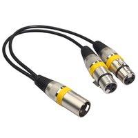 Câbles audio Connecteurs 30cm 3Pin XLR mâle à 2 femelle O Câble de rallonge Y Femme Y Splitter pour micro Mixer Recorder DJ