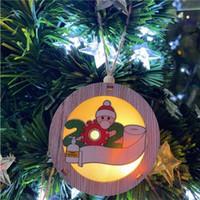 Sıcak 2020 Noel Süs Ahşap christmas ornamentsT2I51598 kolye kişiselleştirilmiş Asma led dize ışıkları yanar