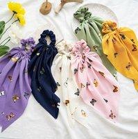 Бантики волос Screunchies Butterfly напечатаны длинные стримеры для волос для волос шифон женщин волос галстук веревочка хвост шарф аксессуары для волос 6 цветов