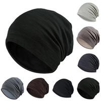Skullies a rayas gorra gorra para hombres Mujeres Slouchy Foritas 2021 Primavera Otoño Turbante Turbante Sombrero Pila de algodón Caps SkullCap