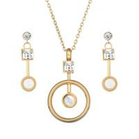 Gouden kleur Oostenrijkse Crystal Classic Hollow Round Ketting Hanger Oorbellen Sieraden Set