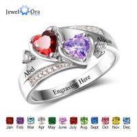 Promessa Anel Personalizado gravar nome Costume Coração Birthstone Ring 925 Esterlina Prata Anéis para Mulheres Presente (jóia RI102502) Y0122