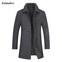 Колмаков Новый весенний стиль мужчины высококлассный бутик траншеи мода повседневная твердая одиночная погружная мужская шерстяная траншея размер XL-8XL1