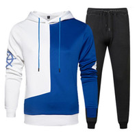 Fashion Trend Splicing Langarm Hoodies Hosen 2pcs Anzüge Designer Male Herbst New Sport-beiläufige Tracksuits Mans Colorblocked Sets