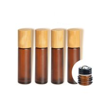 10 ml Frosted Amber Cosmetic Glass Essential Oil Serum Container Matte Brown Roll On Parfum Bottle Bamboo Dek Make-up Accessoires