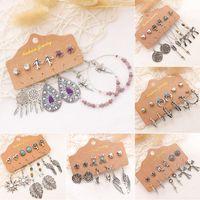 Orecchini dentagli etnici vintage dondolare orecchini set argento bohemien affermazione orecchino orecchino turchese intarsio intarsi orecchino per le donne ragazze