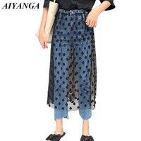 Айянга мода личности женщины джинсы лоскутная сетка женская повседневная высокая талия джинсовые брюки лодыжки брюки осень 2021