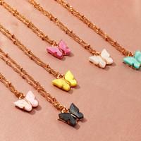 Colorido borboleta pingente colar de ouro cadeias para mulheres temperamento simples resina pedra druzy colares jóias presentes por atacado