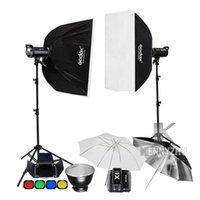 GODOX 2X DE400II 400Ws / DE300II 300WS + 2.4G الارسال X1 ستوديو فلاش إضاءة عدة صور ستروب الفوتوغرافي Softbox 2.8M الخفيفة حامل مجموعة