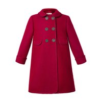 Pettigirl Red Christmas Girl Coats Turn Down Collar Double B...