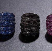 Victoria wieeck 2019 neue heiße luxus schmuck 10kt schwarz gold füllung 4 farbe edelsteine cz diamant hochzeit engagement breiter band ring 125 o2