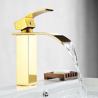 el envío libre de la cascada contemporánea de baño lavabo grifo del fregadero grifo de oro PVD