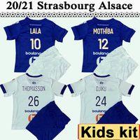 20 21 RC Strasbourg Alsácia Kit Kit Kit de Futebol Jerseys Novo Sissoko Djiku Lala Mothiba Thomasson Home Abaixe Branco Criança Futebol Camisa