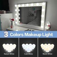 LED Makeup Зеркальные огни 12V Светодиодные лампы Hollywood Светодиодные светильники Dimmable Настенный светильник 2 6 10 14 Луковицы для туалетов в помещении LED010