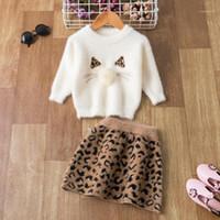 Niños gilrs vestido de manga larga otoño invierno ropa niños 2pcs conjunto de ropa para niñas ropa de Navidad para 1-5yrs Girls Suit1
