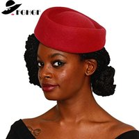Hôtesse de la laine Hôtesses chapeaux chapeaux Fabrication Fascinater Base Stewardess Ovale Retro Cocktail Party Church Hats T200508